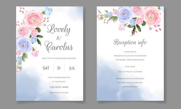Szablon zaproszenia ślubne zestaw szablonu z piękną ramą kwiatowy