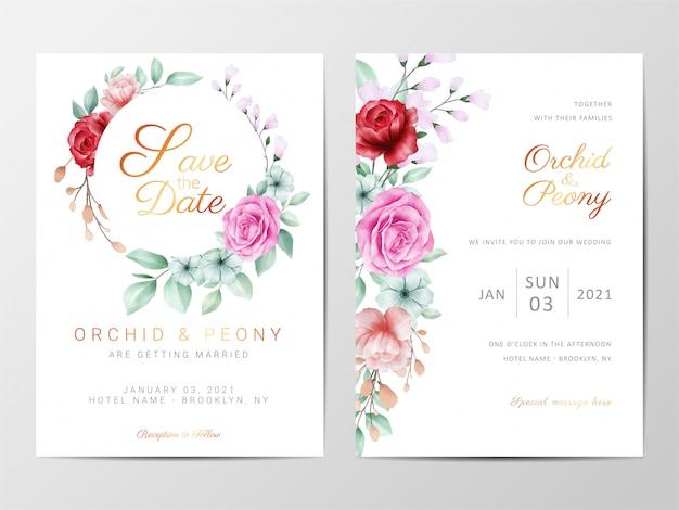 Szablon zaproszenia ślubne zestaw z dekoracyjnymi kwiatami