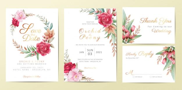 Szablon zaproszenia ślubne zestaw z eleganckimi kwiatami
