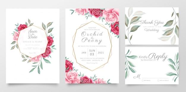 Szablon zaproszenia ślubne zestaw z geometryczną ramą kwiatowy