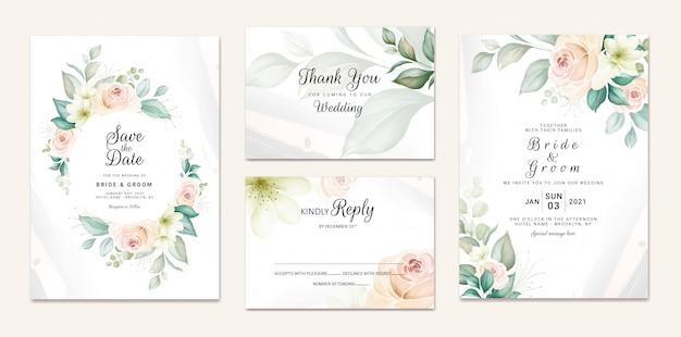 Szablon zaproszenia ślubne zestaw z miękkim akwarela wieniec kwiatowy i dekoracji granicy. botaniczna ilustracja dla karcianego składu projekta