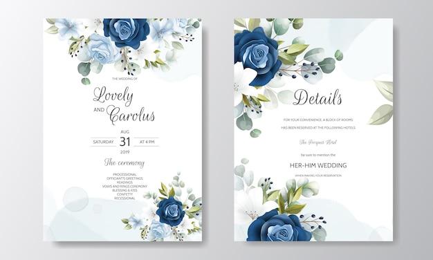 Szablon zaproszenia ślubne zestaw z pięknych liści kwiatowy