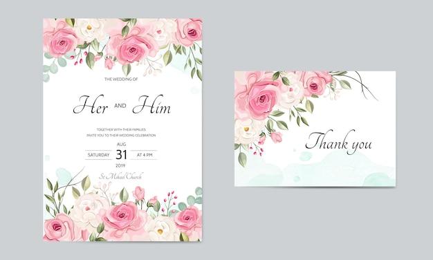 Szablon zaproszenia ślubne zestaw z pięknymi liśćmi kwiatów