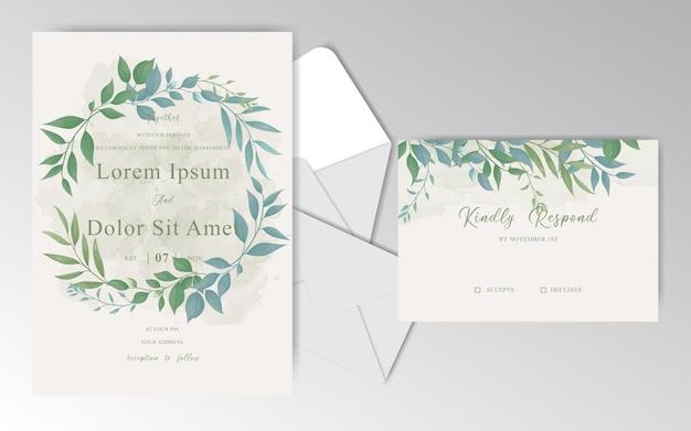 Szablon zaproszenia ślubne zieleni vintage