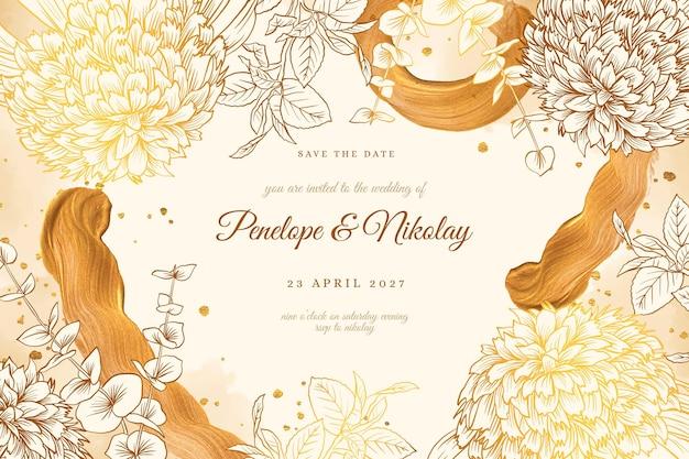 Szablon zaproszenia ślubne złote