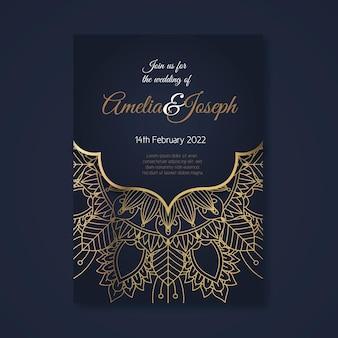 Szablon zaproszenia ślubne złoty luksusowy