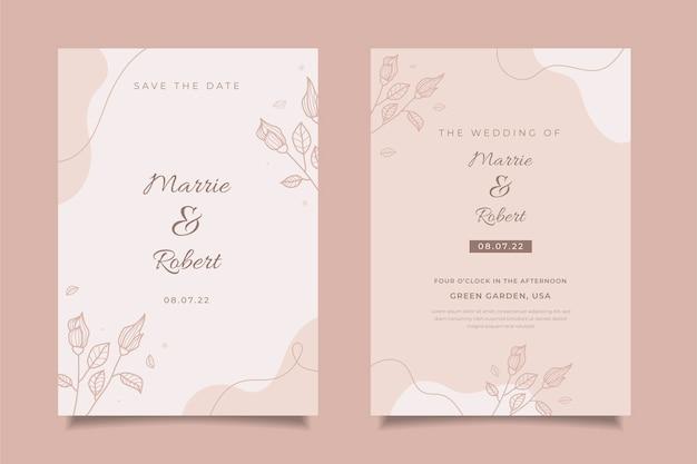 Szablon zaproszenia ślubnego w stylu minimalistycznym