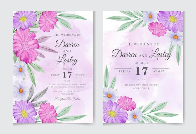 Szablon zaproszenia ślubnego z akwarelą kwiatów i liści