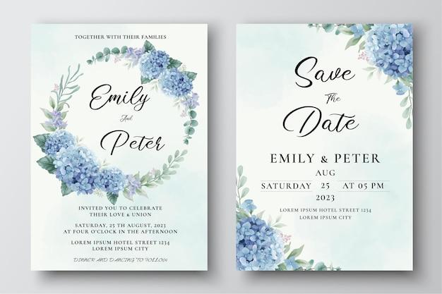 Szablon zaproszenia ślubnego z akwarelowymi kwiatami hortensji i liśćmi eukaliptusa