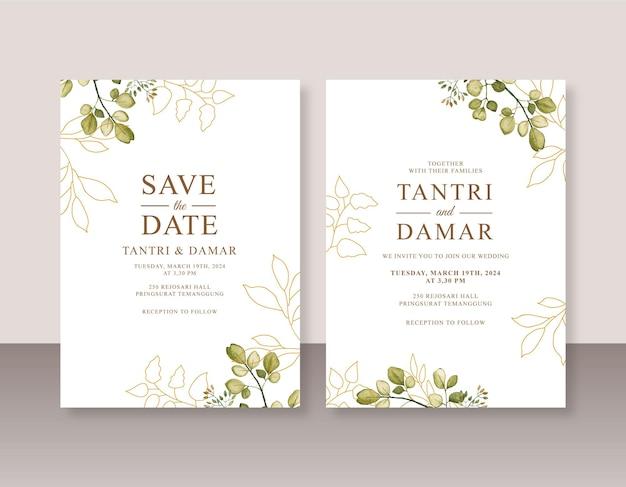 Szablon zaproszenia ślubnego z akwarelowymi liśćmi i złotą linią