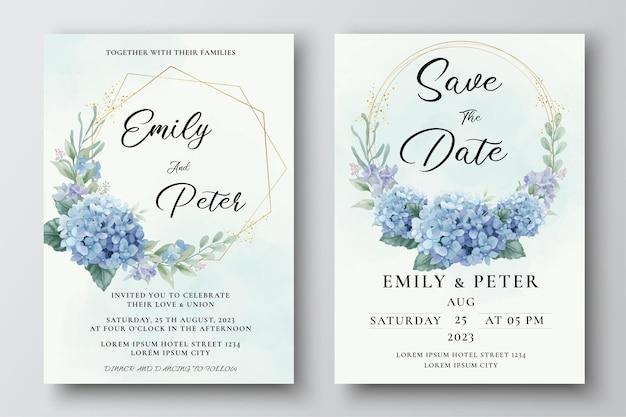 Szablon zaproszenia ślubnego z akwarelowymi niebieskimi kwiatami hortensji i liśćmi eukaliptusa