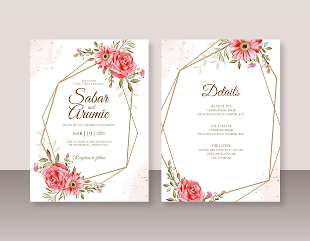 Szablon zaproszenia ślubnego z kwiecistą akwarelą i geometryczną obwódką