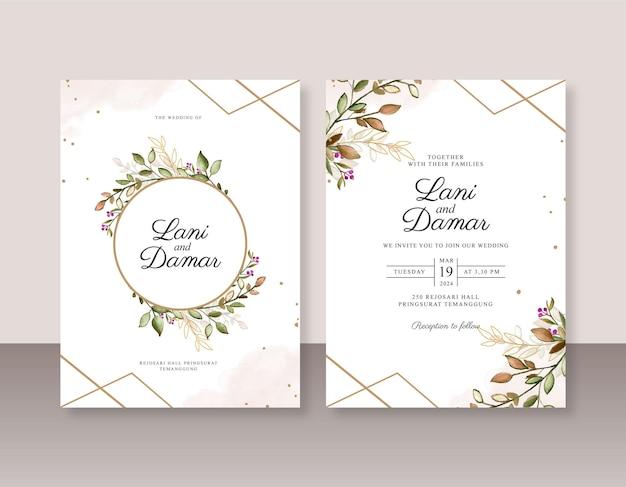 Szablon Zaproszenia ślubnego Z Liśćmi Akwareli I Geometrycznymi Premium Wektorów