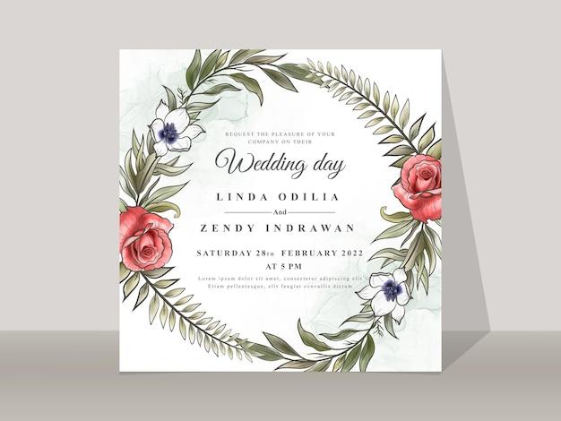 Szablon zaproszenia ślubnego z pięknym kwiatowym ręcznie narysowanym