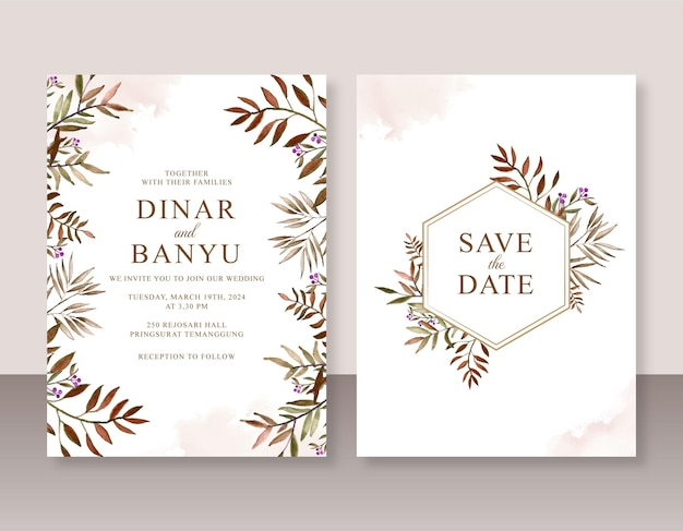 Szablon zaproszenia ślubnego z ręcznie malowaną akwarelą