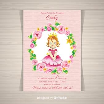 Szablon zaproszenia strony akwarela księżniczka