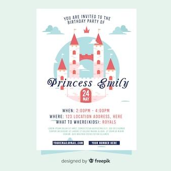Szablon zaproszenia strony zamku księżniczki