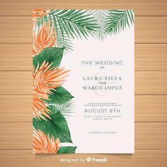 Szablon zaproszenia tropikalny ślub akwarela