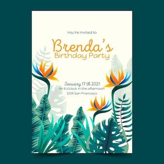 Szablon zaproszenia tropikalny urodziny