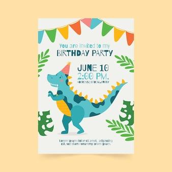 Szablon zaproszenia urodzinowe dinozaura