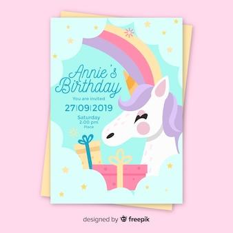 Szablon zaproszenia urodzinowe dla dzieci z jednorożcem