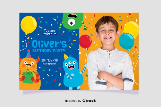 Szablon zaproszenia urodzinowe dla dzieci z obrazem