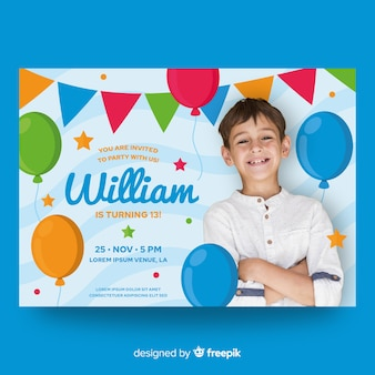 Szablon zaproszenia urodzinowe dla dzieci ze zdjęciem