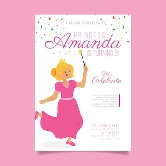 Szablon zaproszenia urodzinowe dla księżniczki
