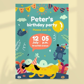 Szablon zaproszenia urodzinowe dzikich zwierząt