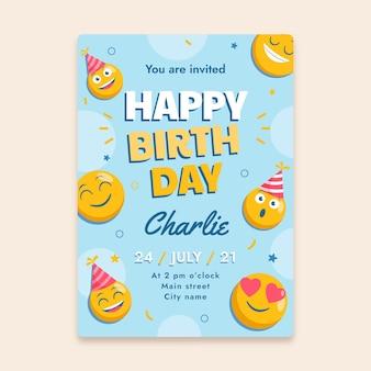 Szablon zaproszenia urodzinowe emoji