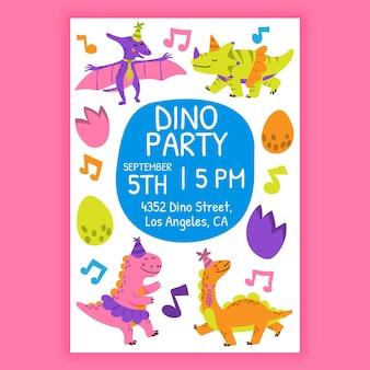 Szablon zaproszenia urodzinowe kreskówka dinozaura