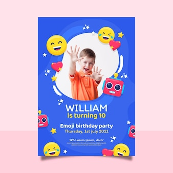 Szablon zaproszenia urodzinowe kreskówka emoji ze zdjęciem