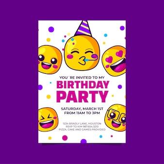 Szablon zaproszenia urodzinowe kreskówka emoji