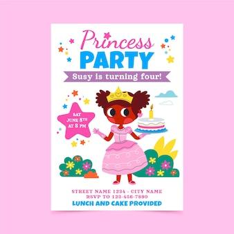 Szablon zaproszenia urodzinowe kreskówka księżniczka