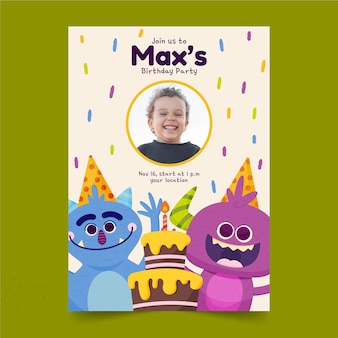 Szablon zaproszenia urodzinowe kreskówka potwór ze zdjęciem