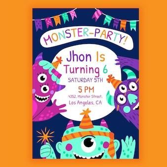 Szablon zaproszenia urodzinowe kreskówka potwór