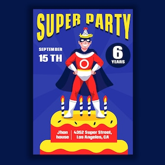 Szablon zaproszenia urodzinowe kreskówka superbohatera