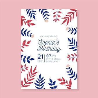 Szablon zaproszenia urodzinowe kwiatowy