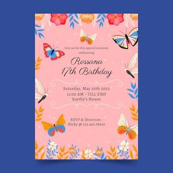 Szablon zaproszenia urodzinowe motyl