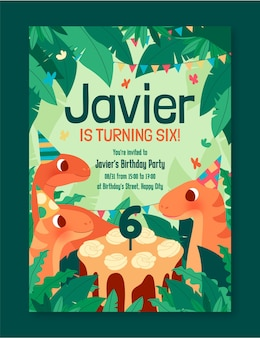 Szablon zaproszenia urodzinowe organiczne płaski dinozaur