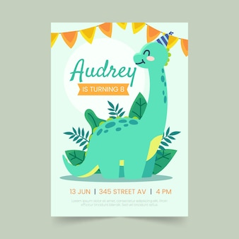 Szablon zaproszenia urodzinowe płaski dinozaur