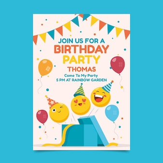Szablon zaproszenia urodzinowe płaski emoji