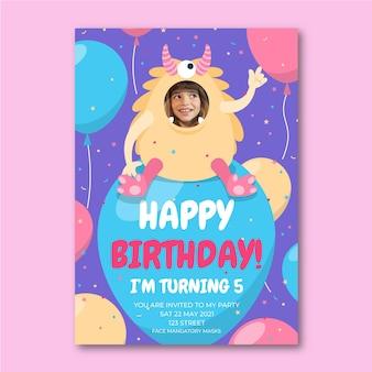Szablon zaproszenia urodzinowe płaski potwór ze zdjęciem