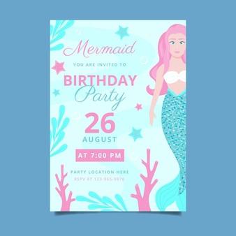 Szablon zaproszenia urodzinowe płaski syrenka