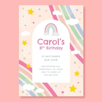 Szablon zaproszenia urodzinowe płaski tęcza