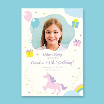 Szablon zaproszenia urodzinowe płaskie jednorożca ze zdjęciem