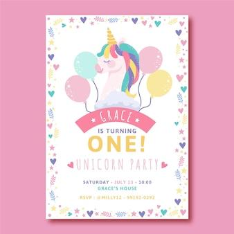 Szablon zaproszenia urodzinowe płaskie jednorożca
