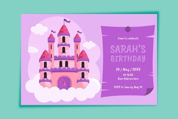 Szablon zaproszenia urodzinowe płaskie księżniczki