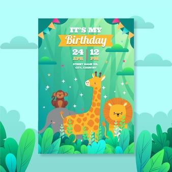 Szablon zaproszenia urodzinowe płaskie zwierzęta
