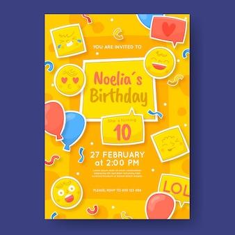 Szablon zaproszenia urodzinowe ręcznie rysowane emoji